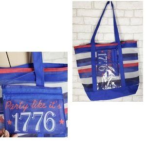 Travel Patriotic Bag Mesh Color Block Bag